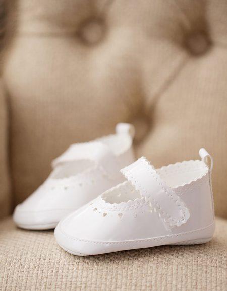 baletki lakierki białe