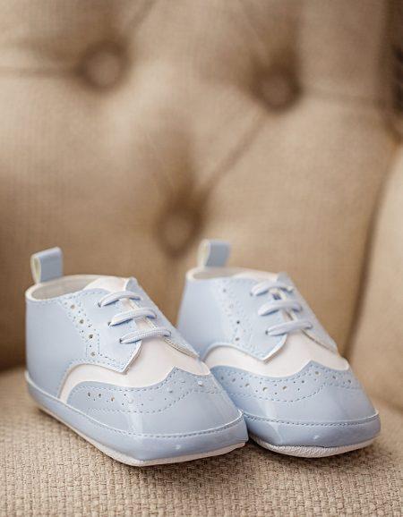 buty do chrztu biało-błękitne