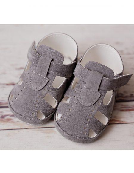 szare zamszowe sandały